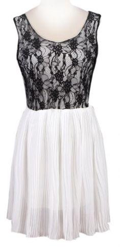 White Sleeveless Lace Contrast Chiffon Dress