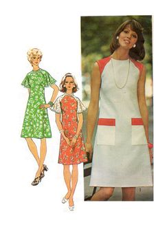 Classic Shift dress with sleeveless or sleeve variations - 1974  Complete Original Simplicity pattern #6215  Consutura Fashionista $14.00