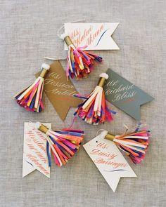 Paper tassels on escort cards // Parcel