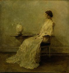 """Lady in White (No. 2)"" by Thomas Wilmer Dewing. c 1910 oil on canvas. In the collection of The Smithsonian American Art Museum, Washington, DC. Gift of John Gellatly."