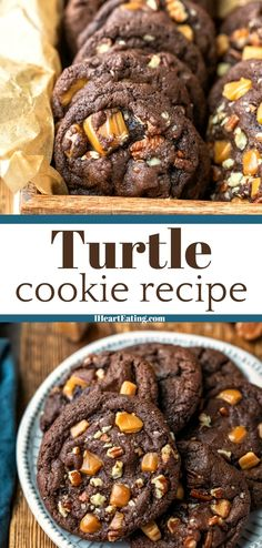 Soft chocolate cookies packed with soft caramel bits and pecan pieces.