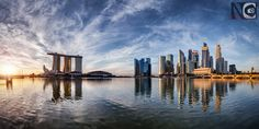 Glazed Anachronism by Nicholas Chewy Beautiful Sunrise, Golden Hour, Marina Bay, Singapore, New York Skyline, Exterior, Photography, Travel, Photograph