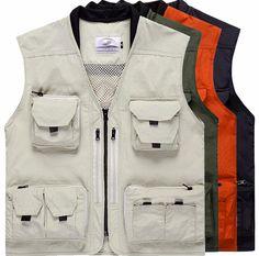MagiDeal Mesh Breathable Openwork Oxford Cloth Journalist Photographer Fishing Vest Waistcoat Jacket Coat