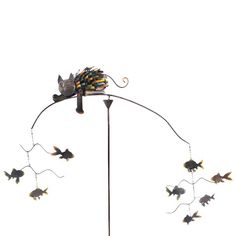 Spiky Cat with Fish Outdoor Kinetic Sculpture