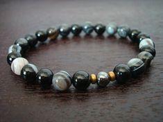 Men's Strength  Positivity Mala Bracelet - Sardonyx and Black Onyx - Yoga, Buddhist, Meditation, Prayer Beads, Jewelry - Includes Shipping