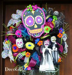 DAY of the DEAD WREATH by decoglitz on Etsy
