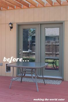 How to Make a Perfect Glass Patio Table Makeover Glass Patio Table Makeover from Making the World Cuter Patio Wall, Diy Patio, Backyard Patio, Patio Ideas, Outdoor Ideas, Backyard Ideas, Outdoor Decor, Outdoor Living, Firepit Ideas