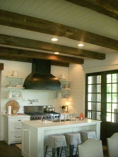 Kitchen - beams - wood ceiling - lake house - Architectural Details Portfolio | L. Mitchell Ginn & Associates  www.mitchginn.com