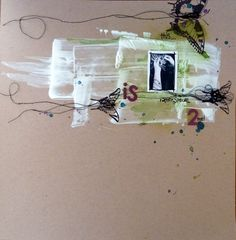 gesso, string, and butterflies