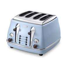 De'Longhi Icona Vintage 4 Slice Toaster Azure - Blue High Gloss (135 CAD) ❤ liked on Polyvore featuring home, kitchen & dining, small appliances, delonghi, 4 slot toaster, 4 slice toasters, four slot toaster and four slice toasters