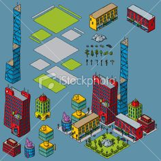 Cartoon City Block Kit with Office Buildings, Apartments and Park Royalty Free Stock Vector Art Illustration