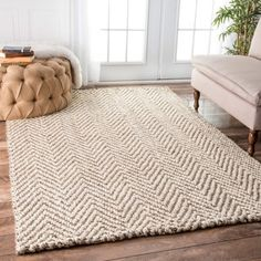 nuLOOM Handmade Eco Natural Fiber Jute Chevron Ivory Rug (7'6 x 9'6) | Overstock.com Shopping - The Best Deals on 7x9 - 10x14 Rugs