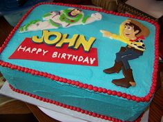 "Toy Story Cake- I would like to change to have a ""2"" in the bold Toy Story font instead of Happy Birthday."