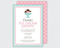 Ice Cream Collection: Printable Invitation  | www.paigesimple.com #icecream #pink #blue #aqua #party #neapolitan #chocolate #strawberry #vanilla #parlor #shoppe