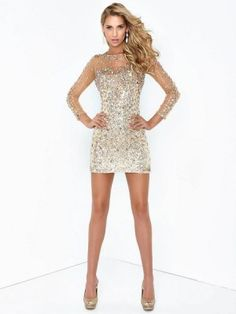 Sheath/Column Scoop 3/4 Sleeves Rhinestone Short/Mini Tulle Dresses - Tight Homecoming Dresses - Homecoming Dresses
