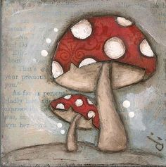 Mushrooms #painting #painting art| http://paintingwilfrid.blogspot.com