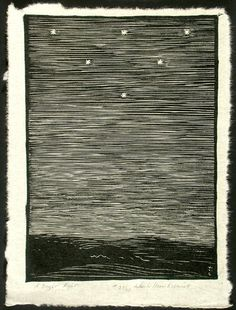 """""""A Bright Night"""" by Wharton Esherick (Woodcut, image size: 10 x 7 paper size: 12 x I've seen these formations in the sky before. Woodcut Art, Linocut Prints, Art Prints, Illustrations, Illustration Art, Wharton Esherick, Linoprint, Stamp Printing, Wood Engraving"""