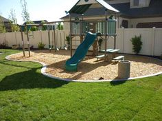 Landscaping decoration ideas backyard playground with concrete borders and edging