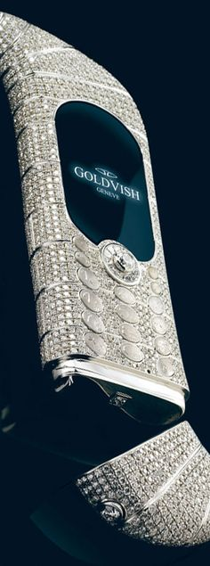 """""""Le million"""",  the most expensive mobile phone, created by the Swiss company Goldvish,  has 120 carats of VVS-1 grade diamonds and costs one million dollars."""