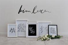 Handwritten Typography Prints. Brush-lettering, done using ink & brush. www.kimleece.com