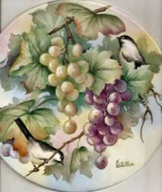 Grapes and Chickadee on porcelain tile by porcelain artist and china painting teacher, Charlene Whitler