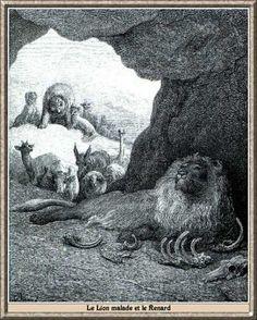 Illustrations de Gustave Dore des fables de la Fontaine fable de la fontaine -  illustration dore - le lion malade et le renard.jpg