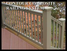Caps and railing style Deck Stair Railing, Railing Ideas, Vinyl Deck, Vinyl Trim, Composite Decking, Outdoor Structures, Google Search, Design, Style