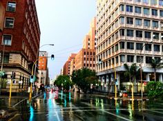 Joburg street just after the rain O Burgess Tourism Pushpa Padayichie Johannesburg City, My Family History, Pretoria, Dream City, City Living, Worlds Largest, South Africa, Landscape Photography