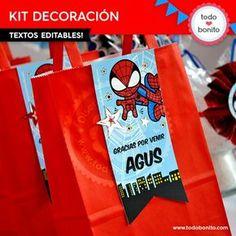 Hombre Araña: decoración de fiesta para imprimir 7th Birthday, Birthday Parties, Spiderman 4, Cakes For Men, Ideas Para Fiestas, Favor Boxes, Hulk, Party Themes, Superhero