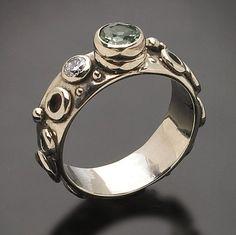 14Kt White Merelani Mint Green Garnet Ring by RichelleJewelry