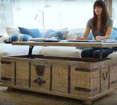Kaplan Global Trunk Coffee Table Reclaimed Whitewash Small - Pottery barn chest coffee table