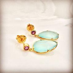 Sterling Silver / Gold-Plated / Amethyst Studs / Chalcedony Drops / Handmade / 100% Natural Stones / $65 / LOTUS by leslie ann / Follow on Instagram @lotus_by_leslie_ann / To purchase email lotusbyleslieann@gmail.com
