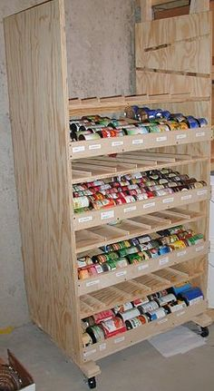 Build a rotating canned shelf How To Build a Rotating Canned Food Shelf…could be as fancy or utilitarian as you would like, but great idea for can storage and makes sure you use the oldest stock first! - Own Kitchen Pantry Food Storage Shelves, Food Shelf, Canned Food Storage, Can Storage, Built In Shelves, Storage Ideas, Food Storage Rooms, Storage Containers, Kitchen Pantry