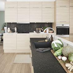 Lyst kjøkken i flott, grepsløst design: Modell Next Hvit Høyglans Oslo, Conference Room, Kitchen, Table, Furniture, Home Decor, Cooking, Decoration Home, Room Decor