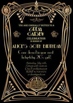Great Gatsby Style Art Deco Birthday Party Invitation by StudioDMD