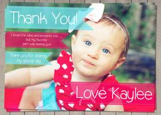 Girls red aqua Thank You Note / Printable by InvitaitonsByLittleP