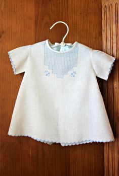 White and Blue Day Gown for Baby Boy 0-3 months by VintageJoint