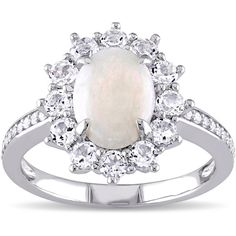 Miadora Sterling Silver Opal ($114) ❤ liked on Polyvore featuring jewelry, rings, white, flower ring, white ring, cocktail rings, band rings and white opal ring