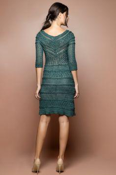 Vestido Crochet Princess Verde Amazonas - Vanessa - vanessamontoro