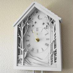 Белый Часы с кукушкой Зимний лес Полночь Диорама с FabParlor