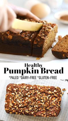 This Healthy Pumpkin Breadis soft, moist and easy to make with almond flour, pumpkin puree, and cozy fall spices. A one bowl recipe that is paleo-friendly, dairy-free, gluten-free and refined sugar free making it perfect for a healthy breakfast or afternoon snack! #paleo #dairyfree #glutenfree