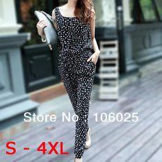 b2765156976 New 2014 Summer Fashion Polka Dots Plus Size S - 4XL Jumpsuit Zipper Vest  Full lengtn Elastic Waist Jumpsuits   Rompers women US  12.99