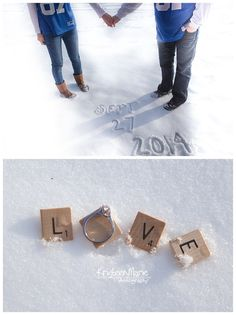Winter Engagement Picture. Write the date in snow for the save the date