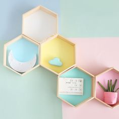 Nordic Style Nursery Kids Room Decoration Shelf Wooden Yellow White Honeycomb Hexagon Shelves for Baby Child Bedroom Decoration - AliExpress Mobile Hexagon Wall Shelf, Honeycomb Shelves, Wood Wall Shelf, Wall Shelves, Geometric Shelves, Wooden House Decoration, Small Wooden House, Wooden Floating Shelves, Nursery Shelves