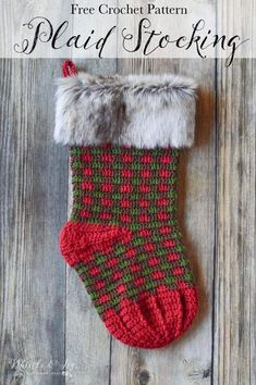 FREE Crochet Pattern: Crochet Plaid Stocking | Bring a rustic and classic look to your holiday decor with these fur-topped Christmas Stockings.