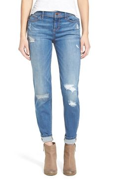 SP Black Rip & Repair Skinny Jeans (Light Wash) available at #Nordstrom