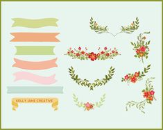 Lovely floral banners perfect for creating wedding Invitations, scrapbooking, shower invitations, graphic design projects, logos, handmade craft projects https://www.etsy.com/listing/175523627