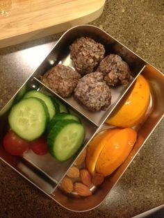 organic local beef makes great meatballs! (I added oatmeal, egg, onion, salt, pepper) Make a batch and put them in the freezer to pull out once a week!