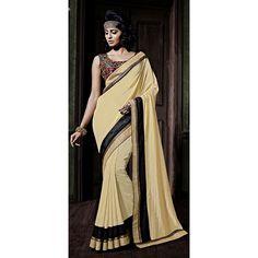 Designer Cream Heavy Embroidered Border Art Silk Saree-509(OH-ZOYA)