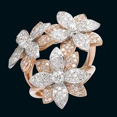Ring in white and pink gold with diamonds